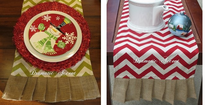Chevron Table Runner with Burlap Ruffle – LAST CHANCE ! HOT BUY