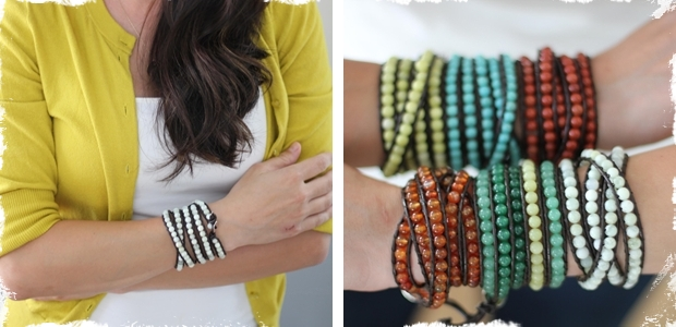 Gorgeous Five-Wrap Beaded Leather Bracelet - Limited Quantities!
