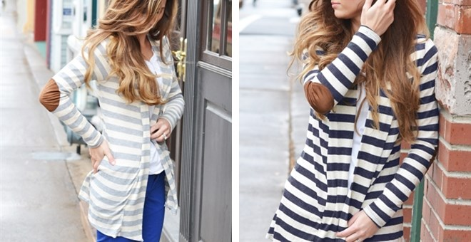 {4 Colors Available} Striped Open Cardigan with Elbow Patch
