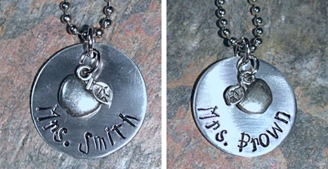 Hand Stamped Personalized Favorite Teacher Necklace