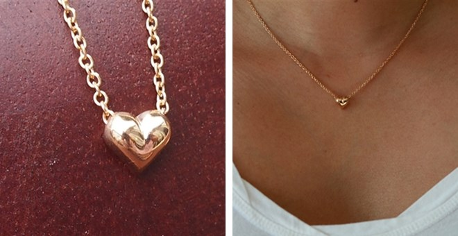 Puffed mini heart necklace jus...