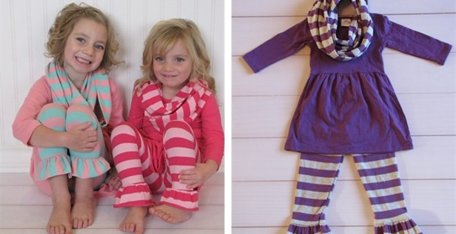 Girls Shirt Pants and Scarf Outfits
