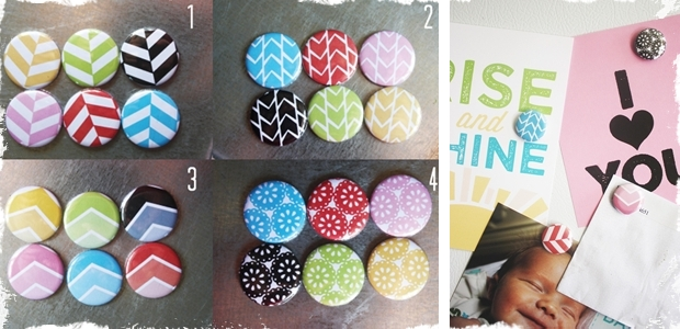 Colorful Patterned Circular 1 inch Magnets - 4 Patterns to Choose From!