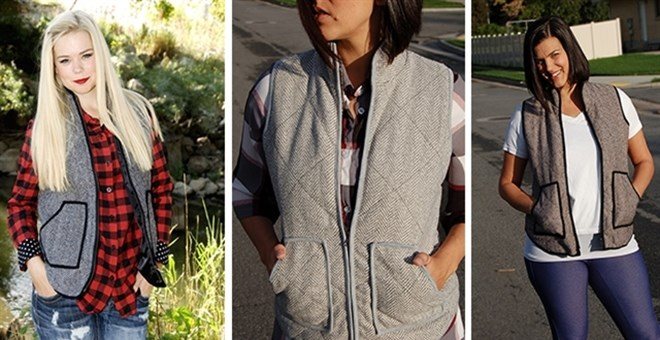 Thick Quilted Herringbone Vest / 6 Sizes + 3 Colors