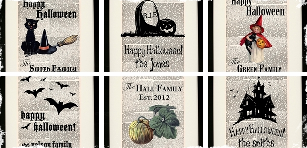 Halloween Customized Antique Encyclopedia Prints: 6 designs to choose from!