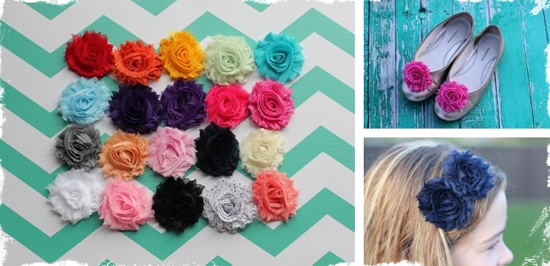 DIY Shabby Chic Flowers – Set of Two!  Choose from 20 Colors!