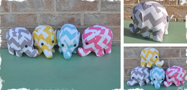 Chevron Elephant Plush - Available in 4 Darling Options!