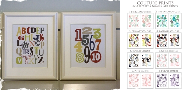 8x10 Alphabet or Numbers Art Prints from Couture Prints -  8 Different Color Choices!