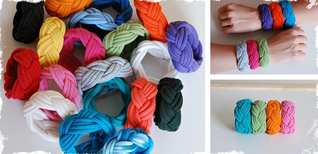 Hand Woven Cotton T-Shirt Cuffs/Bracelets!  -  Choose From 19 Colors!