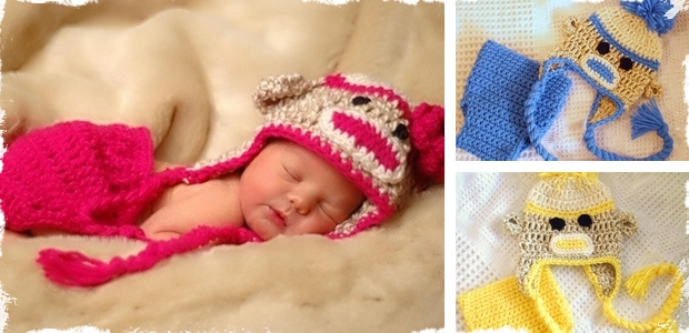 Adorable Handmade Sock Monkey Hat & Diaper Cover Set - 4 Sizes! 3 Colors!