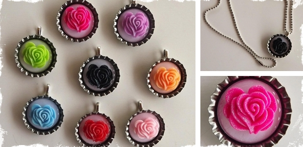 Flower Bottle Cap Necklace - 8 Colors to Choose From!