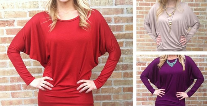 They're Back!! Dolman Sleeve Tunic Top (S-3XL)