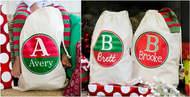 Large Christmas Drawstring Bags - Personalized!