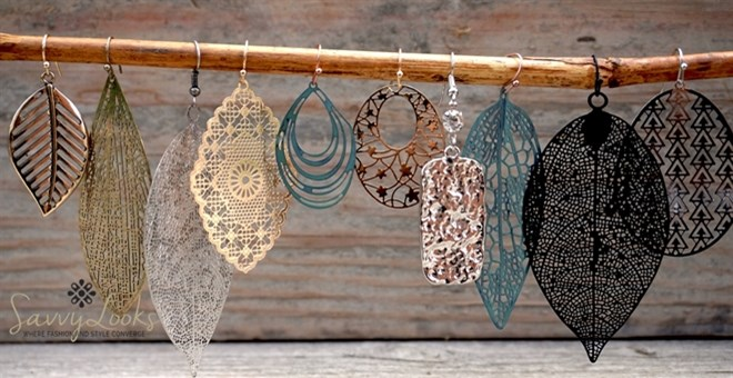 Laser-Cut Filigree Earrings - 30 Styles