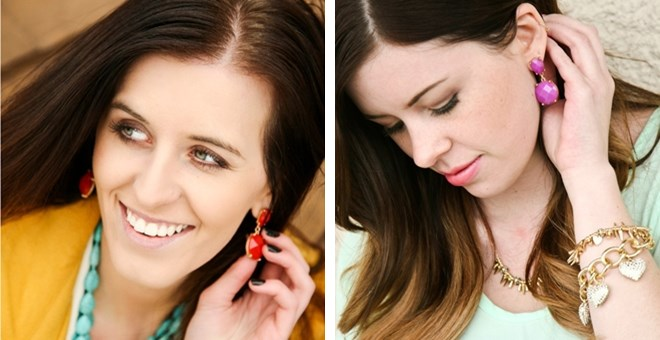 Faceted Statement Drop Earrings in 10 different colors
