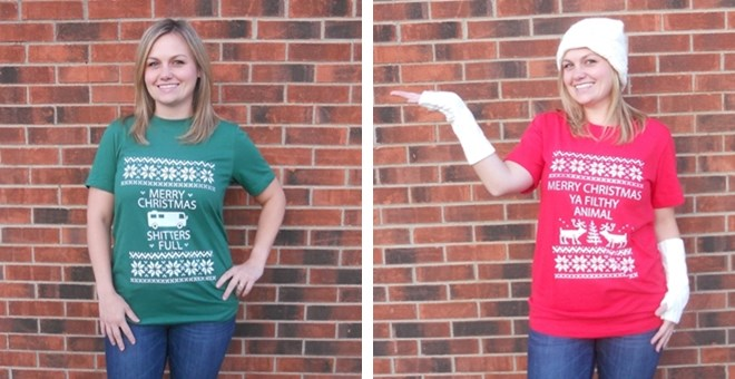 Christmas Themed Ugly Sweater Graphic Tees