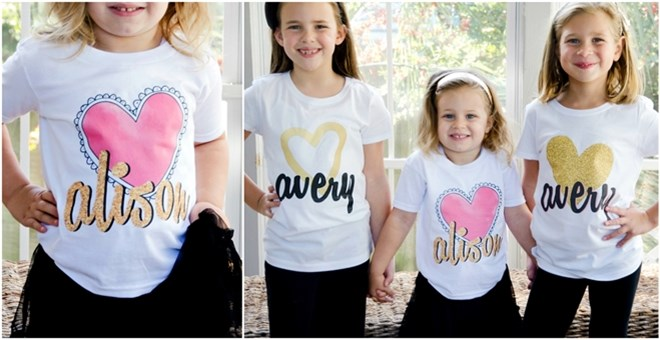 Personalized Glitter Heart Shirts for Girls!