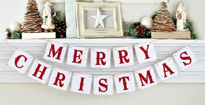 Christmas Banner Photo Prop | Mantle