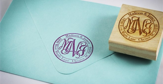 Monogram Return Address Stamp