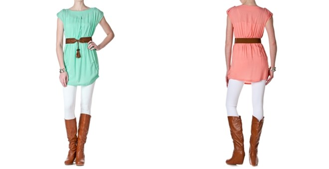 American Chic Belted Cap Sleeve Long Shirt