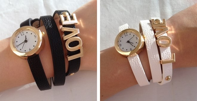 "Valentine ""LOVE"" leather wrap watch – 2 colors"