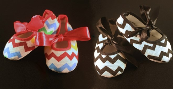 Delightfully Charming Chevron Baby Shoes With Ribbon