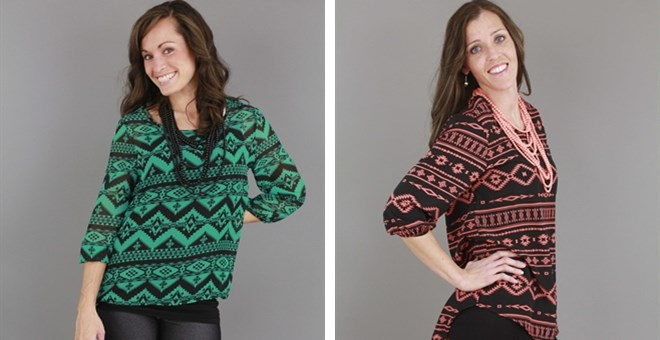 Aztec, Chiffon Blouse and Native High-Low Blouse!