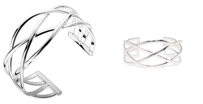Karie Silver Plated designer Cuff Bangle by Cate & Chloe