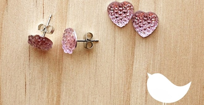 NEW glitterly pink heart earrings – handmade and quickship!