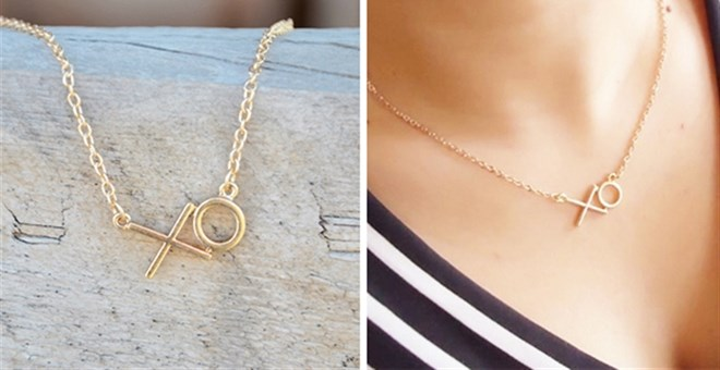Hugs & Kisses Gold Necklace