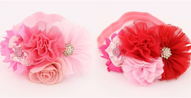 Valentine's Day Shabby Chic Flower Headband