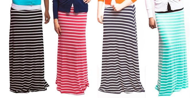 Spring Striped Maxi Skirts