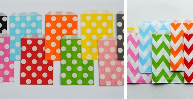 Chevron Stripe and Polka Dot Party Bags- Pack of 12