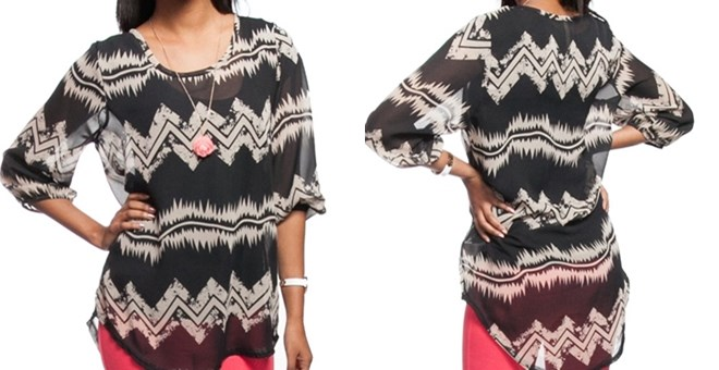 Oversized Hi-Lo Chevron Tunic