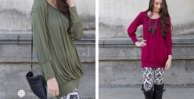 Olivia Draped Tunic! 5 Color Options!