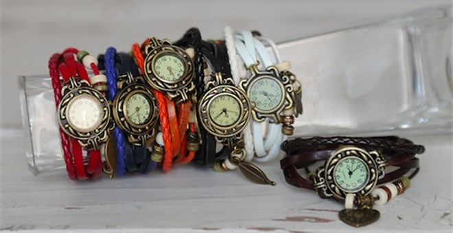 Lovely Leather Watch with Charms