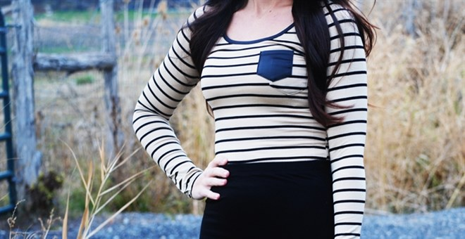 Striped Faux Leather Pocket Tee BLOWOUT