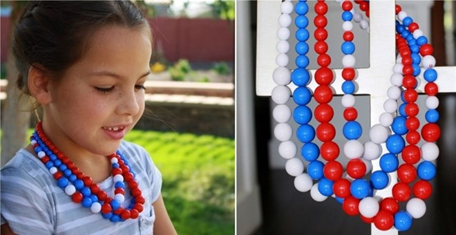 Bubble Gum Patriotic Olympic Necklace