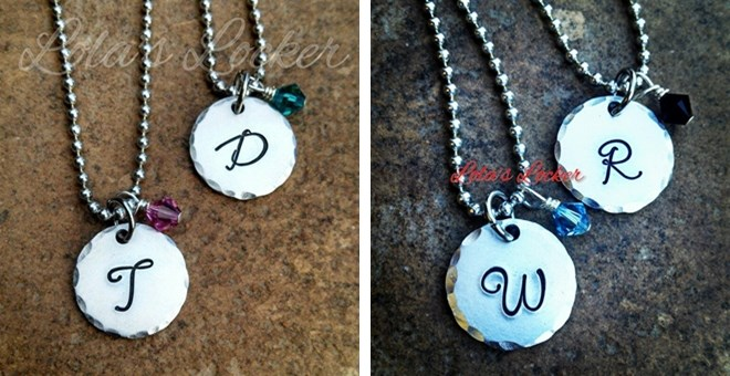 Danity Initial with Birthstone Personalized Necklace by Lola's Locker