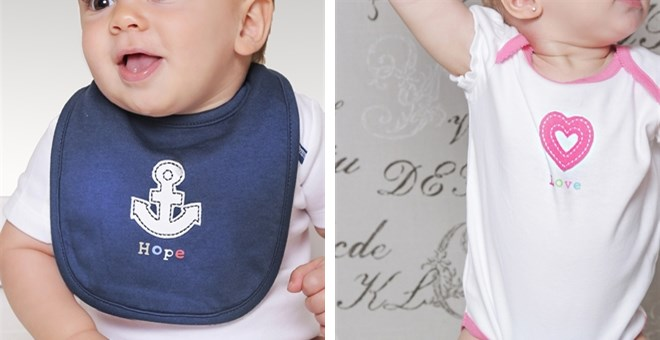 BODY SHIRT AND BIB-2PC SETS-HEART and ANCHOR