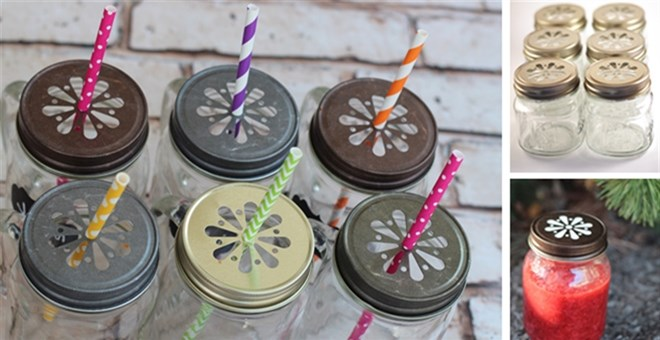 6 Super Cute Daisy Cut Mason Jar Lids, in 4 Colors with Free Pulp Liners w/ MULTIPACK