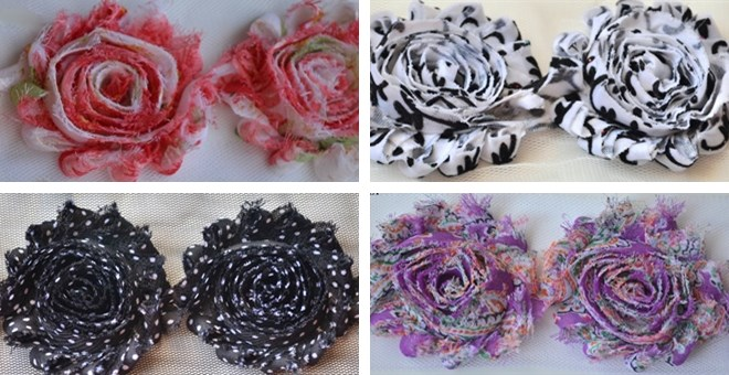 Mystery grab bag of 15 Printed Shabby Chiffon Flowers