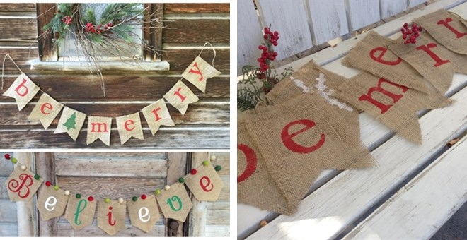 Be Merry Burlap Banners! 2 Options!