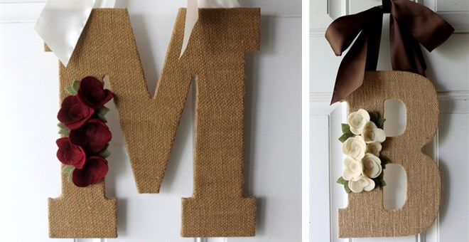 Monogram Burlap Door Hanger