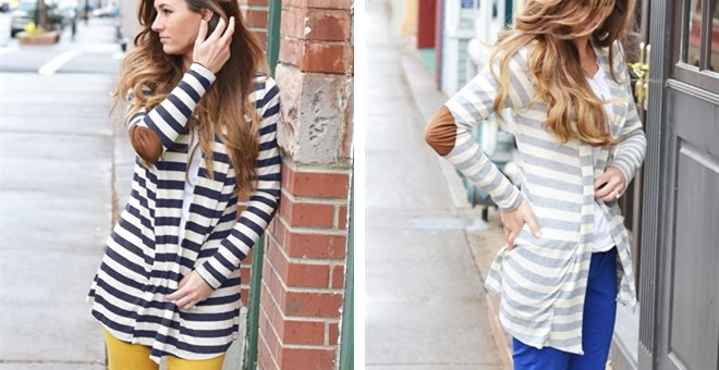 Open Striped Cardigan with Elbow Patch