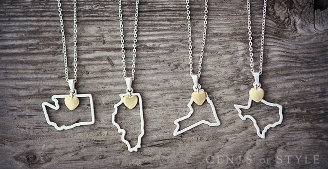 50 U.S. States Pendant Necklaces!