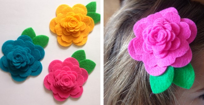 Darling Felt Rosette Hair Clips {Set of 2!}