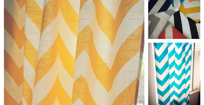 CURTAIN PANEL -- HOME DÉCOR LARGE CHEVRON FABRIC- 6 COLORS!