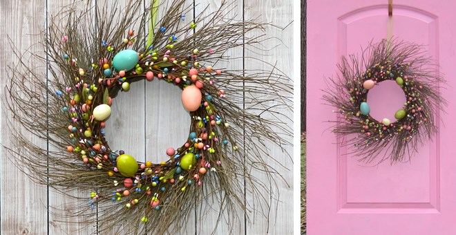 Large Rustic Easter Egg Wreath – Handmade
