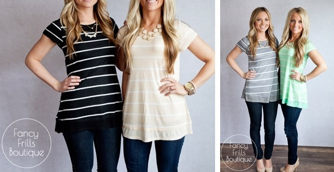 Striped Button Back Tunic